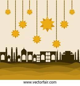 Eid mubarak gold hanger stars and city buildings vector design