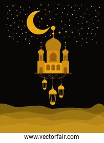 Eid mubarak gold temple with moon hanger lanterns and stars vector design