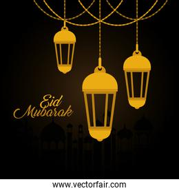 Eid mubarak gold lanterns vector design
