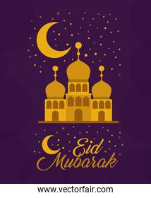 Eid mubarak gold temple with moon and stars vector design