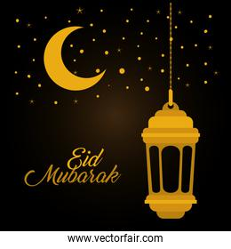 Eid mubarak gold lantern moon and stars vector design