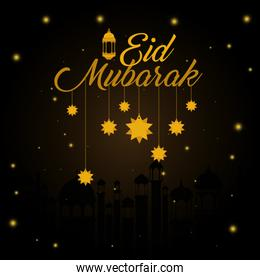 Eid mubarak gold hanger lantern and stars vector design