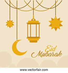 Eid mubarak gold hanger lantern moon and stars vector design