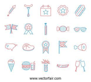 Independence day line and fill style icon set vector design