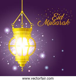 Eid mubarak gold lantern with stars shining vector design