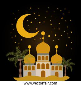 Eid mubarak temple with moon stars and palm trees vector design