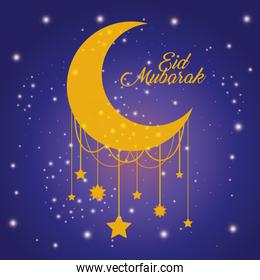 Eid mubarak moon with stars shining vector design