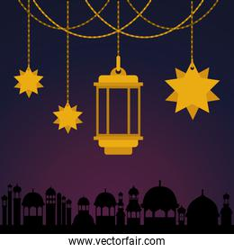 Eid mubarak gold lantern and stars hanging with city buildings vector design