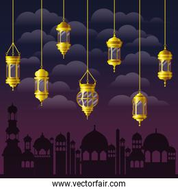 Eid mubarak gold lanterns clouds and city buildings vector design