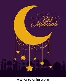 Eid mubarak moon with stars and city buildings vector design