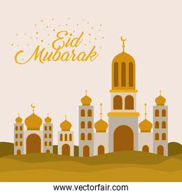 Eid mubarak temple with moon vector design