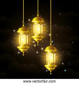 Eid mubarak gold lanterns with stars shining vector design