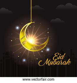 Eid mubarak moon with stars shining and city buildings vector design