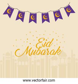 Eid mubarak moons and stars banner pennant with buildings silhouette vector design