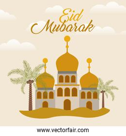 Eid mubarak temple with moon palm trees and clouds vector design