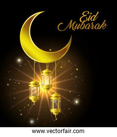 Eid mubarak gold moon with lanterns and stars and shining vector design