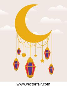 Eid mubarak moon with lanterns and stars vector design