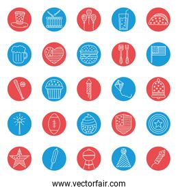 Independence day block style icon set vector design