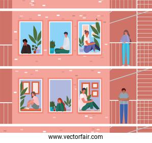 People looking out the windows with balconies from pink building vector design