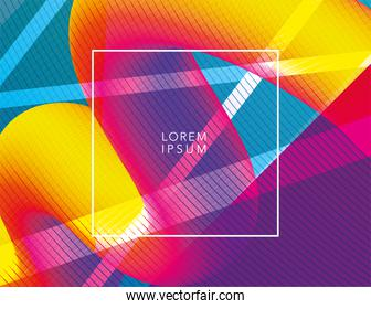 Vibrant colored and waved background with frame vector design