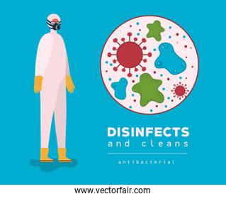 Covid 19 virus and man with protective suit vector design