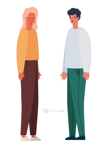 Woman and man avatar cartoon vector design