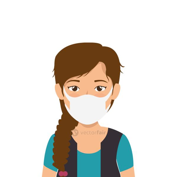 young woman using face mask isolated icon
