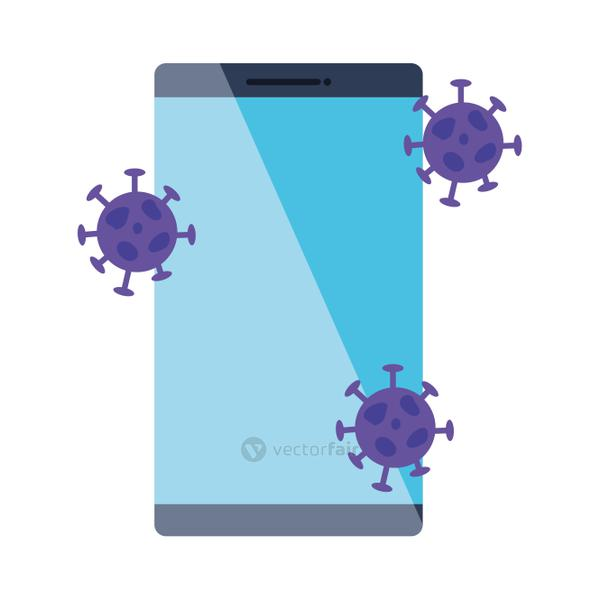 smartphone with particles covid 19 isolated icon