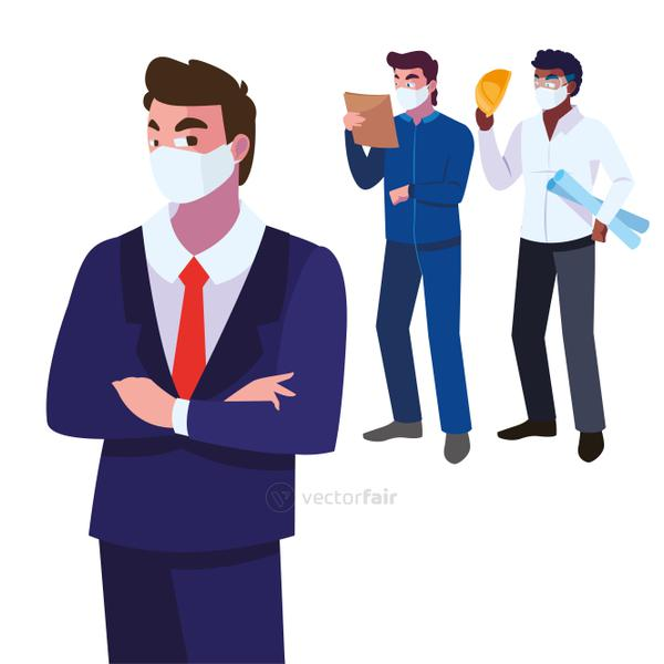 engineers and executive wearing face mask