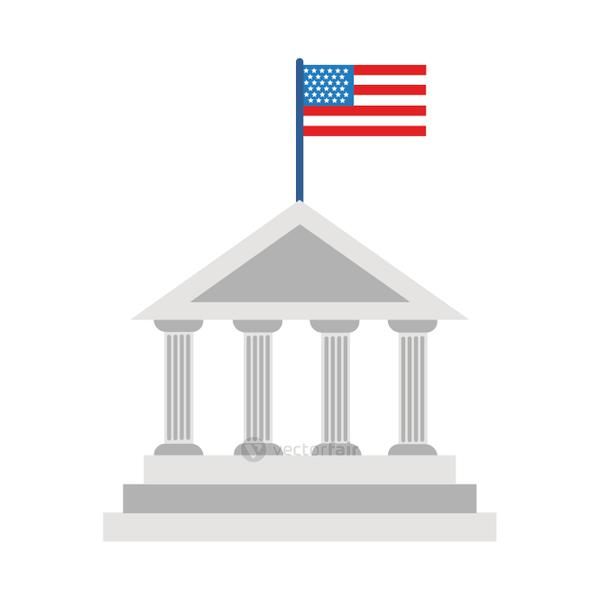 columns construction usa flag flat style