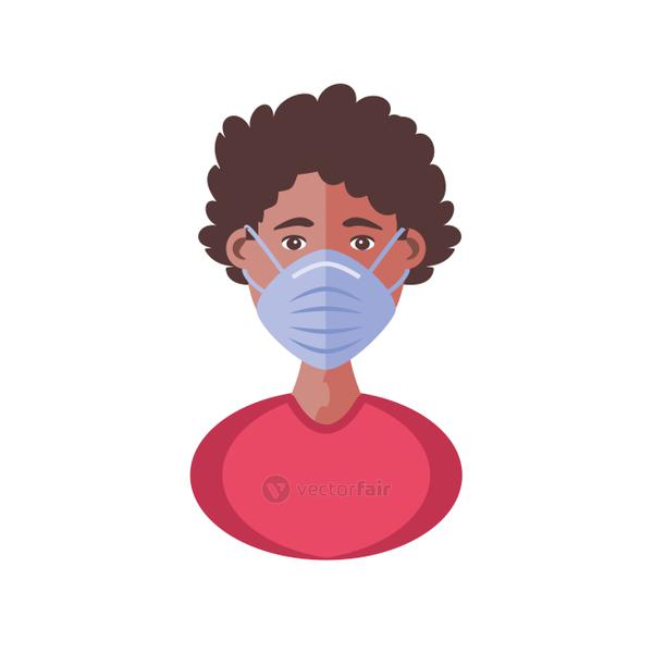 young man with face mask, coronavirus prevention