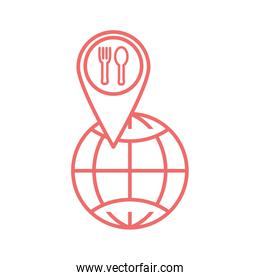 Cutlery inside gps mark and global sphere line style icon vector design