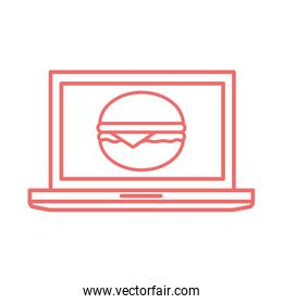hamburger inside laptop line style icon vector design