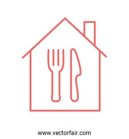 Cutlery inside house line style icon vector design