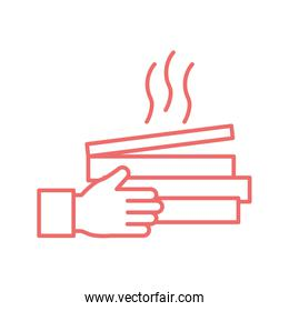 Hand with pizza boxes line style icon vector design