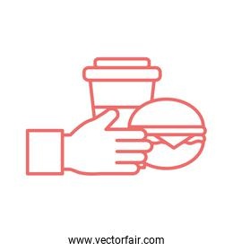 Hand with mug and hamburger line style icon vector design