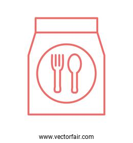 Cutlery inside bag line style icon vector illustration