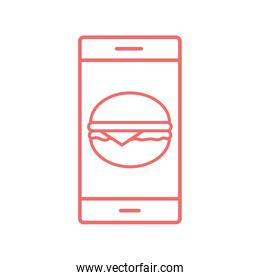 smartphone and hamburger line style icon vector design