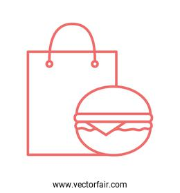 Shopping bag and hamburger line style icon vector design