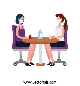 women using face mask meeting in wooden table