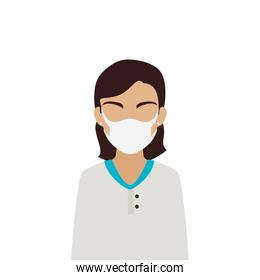 woman using face mask isolated icon