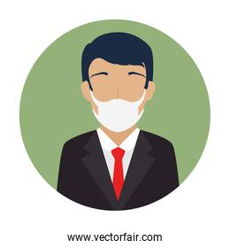 businessman using face mask in frame circular
