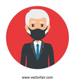 business old man using face mask isolated icon