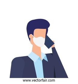 businessman using face mask talking on the smartphone