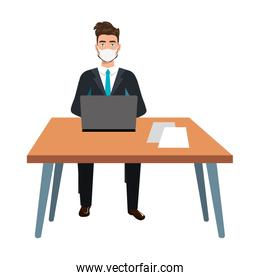 businessman using face mask in the workplace