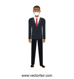 businessman afro using face mask isolated icon