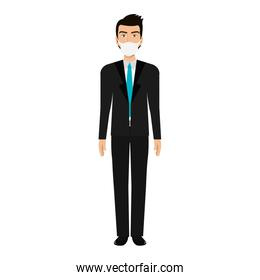 businessman using face mask isolated icon