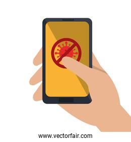 hand using campaign of stop covid 19 in smartphone