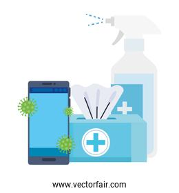 prevention spray bottle covid 19 with smartphone and tissue box