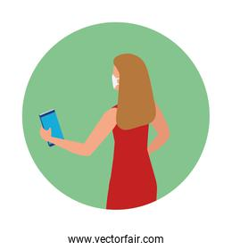 woman using face mask talking in smartphone